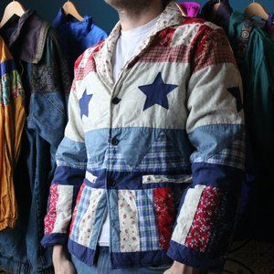 Patch Work American Flag With Stars Jacket
